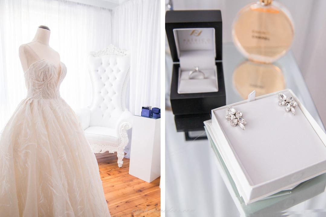 wedding dress and jewlery