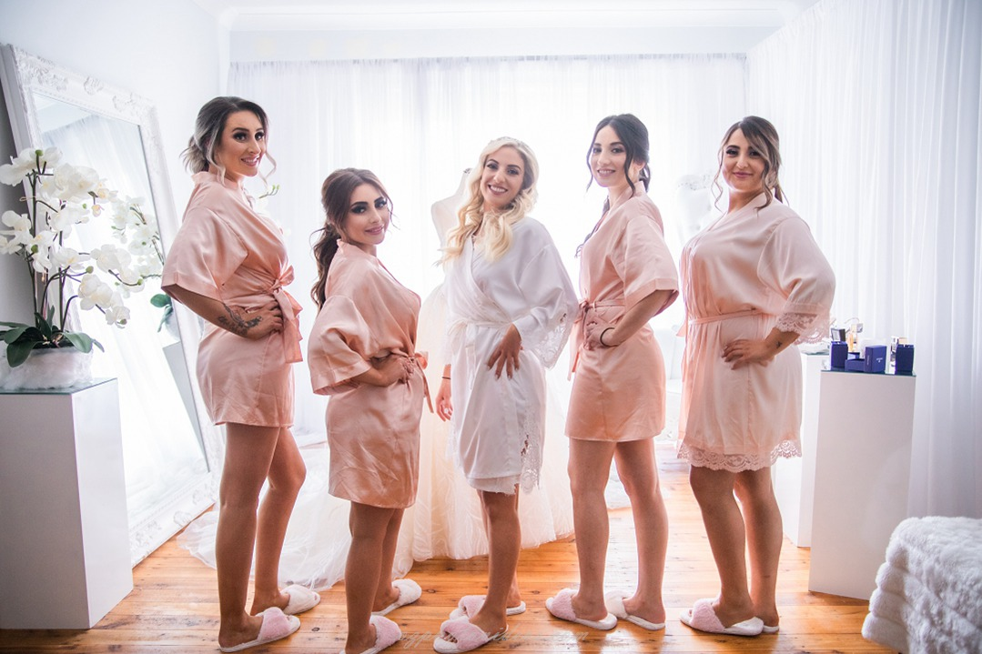 with bridemaids